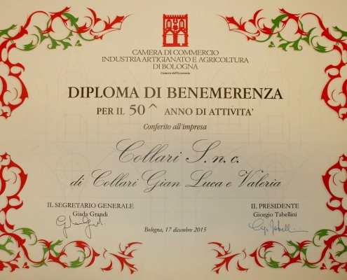 Collari Diploma 50 anni Certificate of Merit for the 50th year